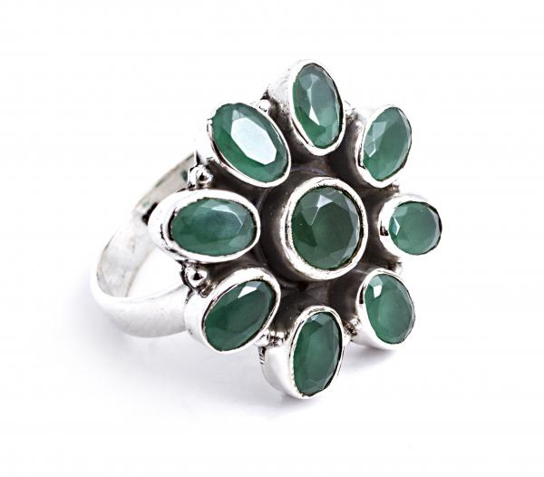 Inel din Argint Floare cu  Agat Verde Fațetat 0