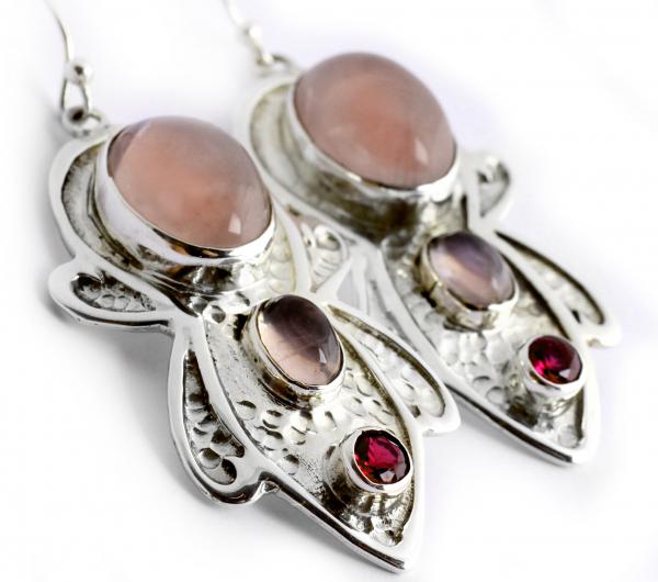Cercei din Argint cu Cuarț Roz 1