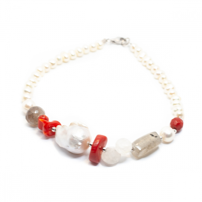 Bratara Creatie cu Perla de Cultura,Coral,Labradorit,Piatra Lunii,Cuart si Argint [0]