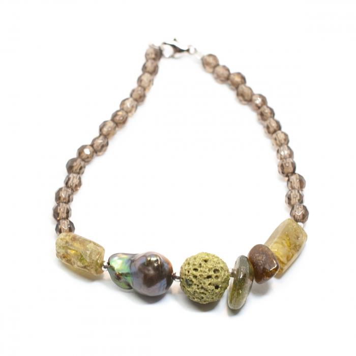 Bratara Creatie cu Cuart Fumuriu,Coral Spongios,Perla Barogue si Argint [0]