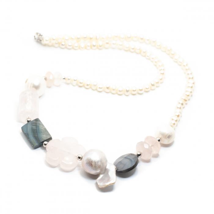 Colier Creatie cu Perle de Cultura, Cuart Roz, Sidef si Argint [0]