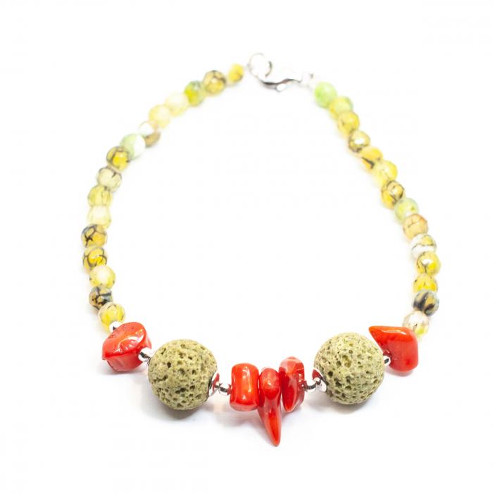 Bratara Creatie cu Coral, Cuart, Coral Spongios si Argint [0]