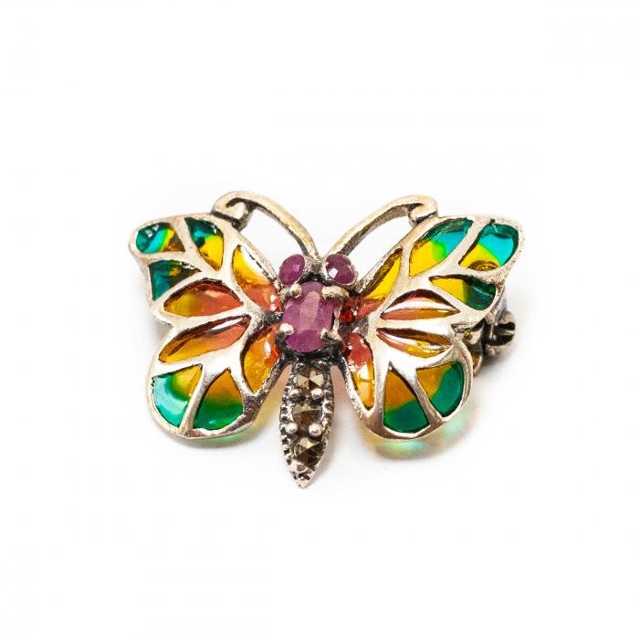 Broșă Fluture cu Rubin și Marcasite din Argint [0]