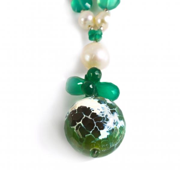 Colier Creaţie Sheba Agat Verde, Perle de Cultură, Sidef, Cuarţ 1