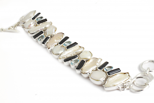 Brățară din Argint cu Perle de Cultură, Topaz și Turmalină Neagră 0