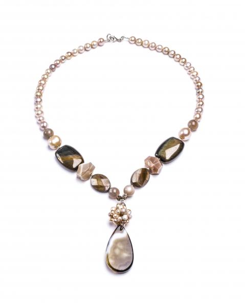 Colier Perle de Cultură, Sidef, Agat 0