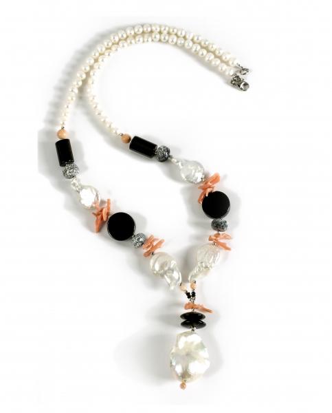 Colier Creaţie  din  Perlă Baroc, Agat, Onix, Coral cu Argint 0