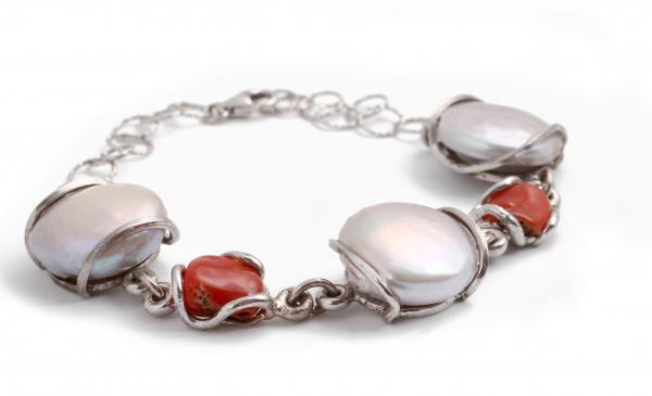 Brățară din  Argint cu Perle de Cultură și Coral 0