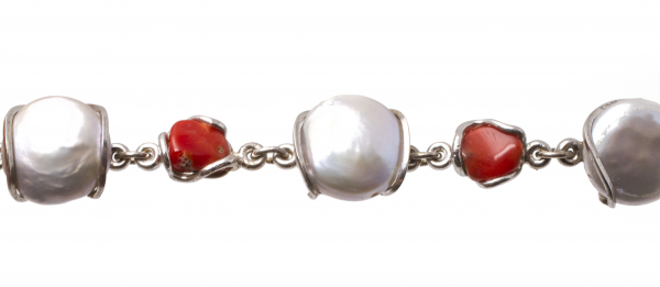 Brățară din  Argint cu Perle de Cultură și Coral 1