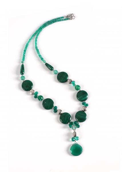 Colier Creaţie Sheba Agat Verde şi Malahit 0