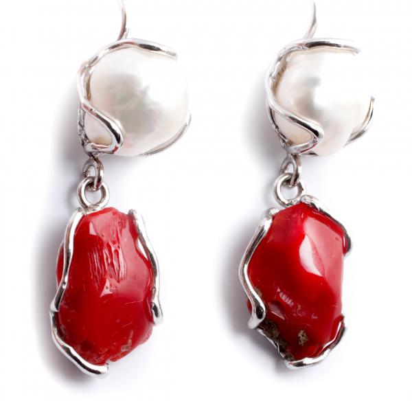 Cercei din Argint cu Perle de Cultură și Coral 0