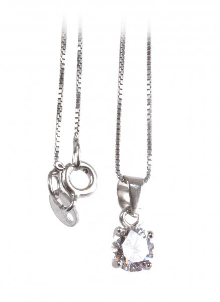 Lanţ din Argint cu Pandantiv Zirconiu 0