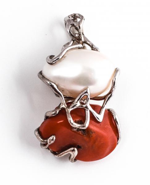 Pandantiv din Argint cu Perlă de Cultură și Coral 0