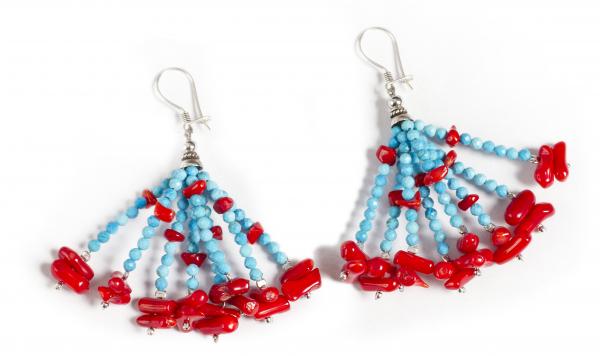 Cercei Candelabru Turcoaz și Coral Roșu 0