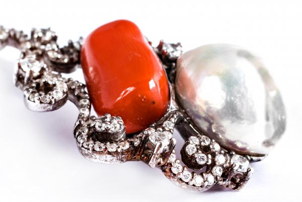 Pandantiv din Argint cu Perlă de Cultură și Coral 1