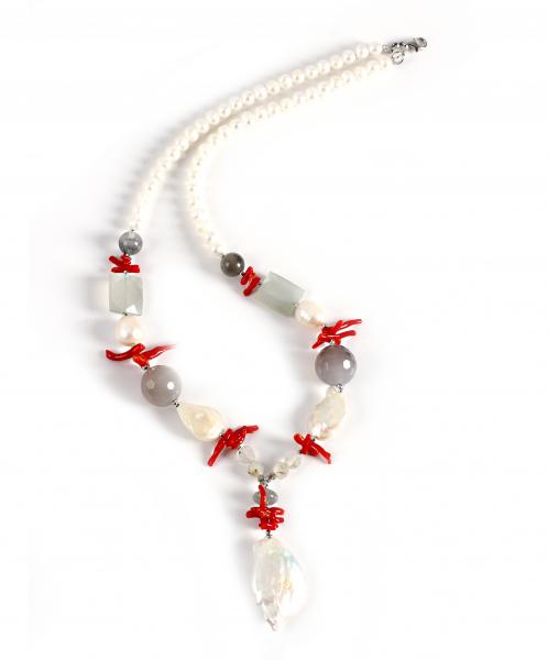 Colier Creaţie Sheba Perle Baroc, Coral, Sidef, Cuarţ 0