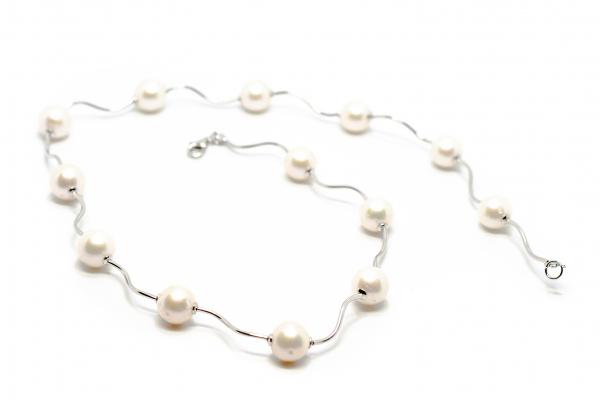 Lant Creatie Perle si Baghete de Argint 0