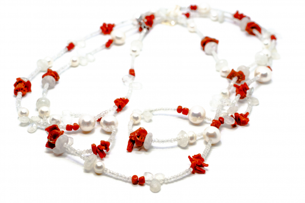 Colier Creatie cu Coral, Perla de Cultura si Argint 0