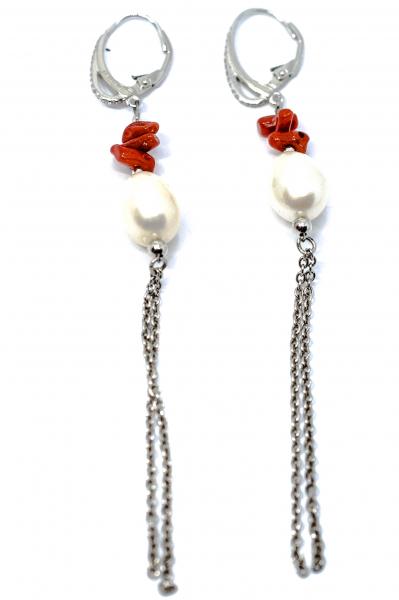 Cercei cu Coral, Perla si Argint 2