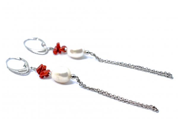 Cercei cu Coral, Perla si Argint 1