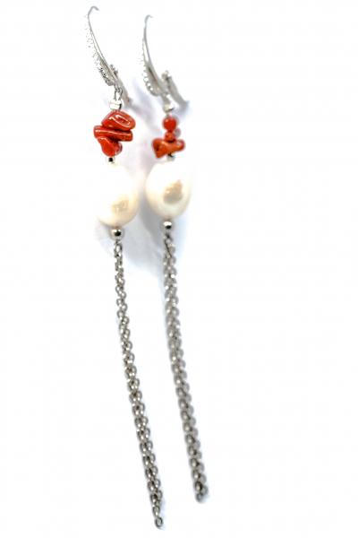 Cercei cu Coral, Perla si Argint 0