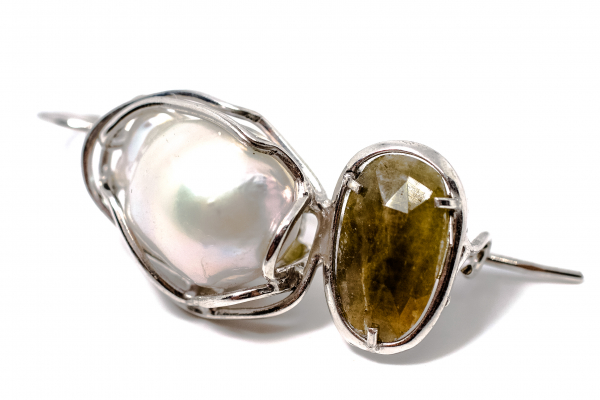 Cercei Safir Copt, Perla Baroc si Argint 1
