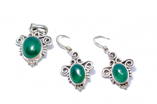 Set Cercei si Pandantiv Agat Verde si Argint 0