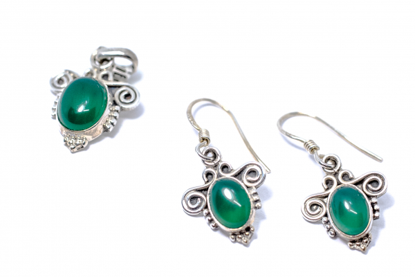 Set Cercei si Pandantiv Agat Verde si Argint 2