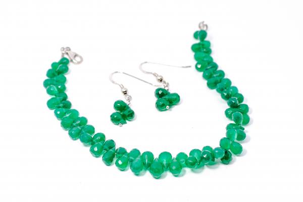 Set Bratara si Cercei Agat Verde Briolete 0
