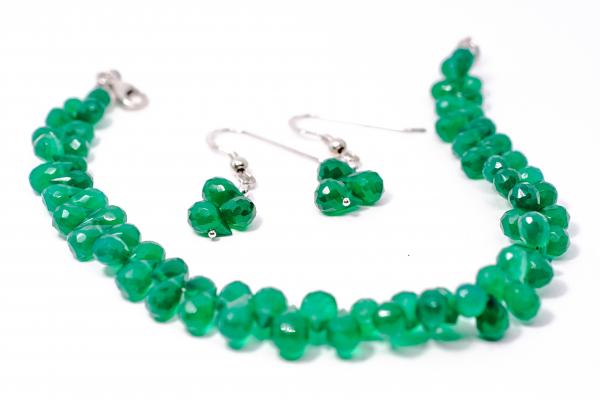 Set Bratara si Cercei Agat Verde Briolete 1