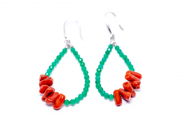 Cercei creatie  coral si agat verde. 1