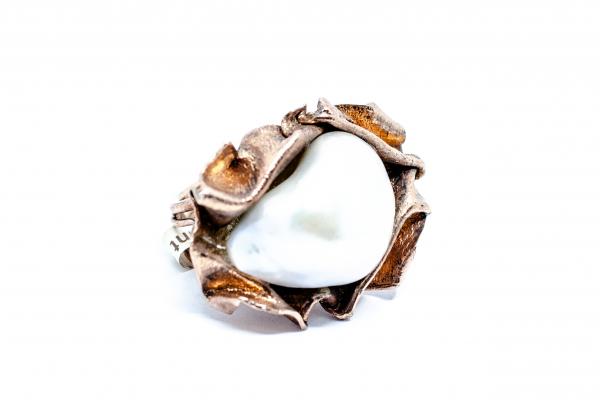 Inel  din Argint Aurit  cu Perla Baroca 1