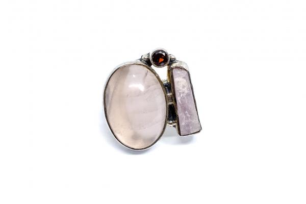 Inel din Argint cu Granat si Cuart Roz 0