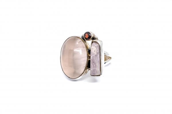 Inel din Argint cu Granat si Cuart Roz 1