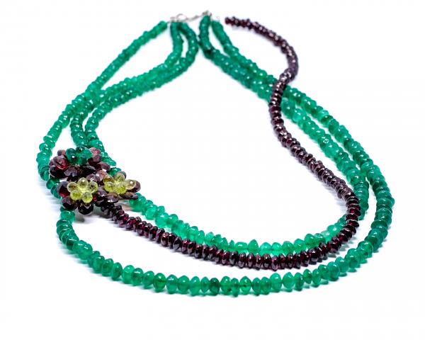Colier Creatie cu Agat Verde, Granat si Argint 1