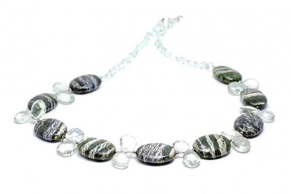 Colier Creatie cu Ametist Verde, Serpentin si Argint 0