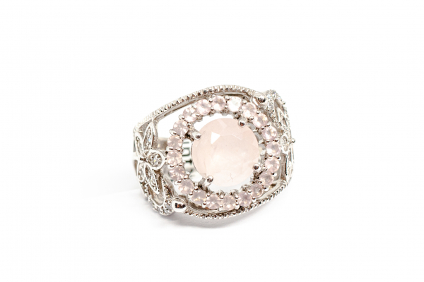 Inel din Argint cu Cuart Roz si  Zirconiu 0