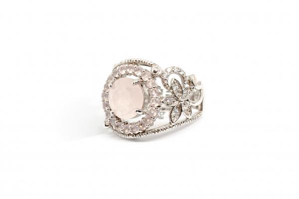 Inel din Argint cu Cuart Roz si  Zirconiu 1