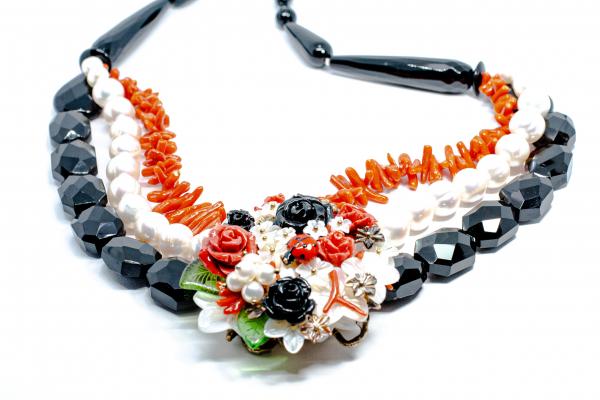 Colier Creatie din Onix , Coral si Perla cu Argint [1]