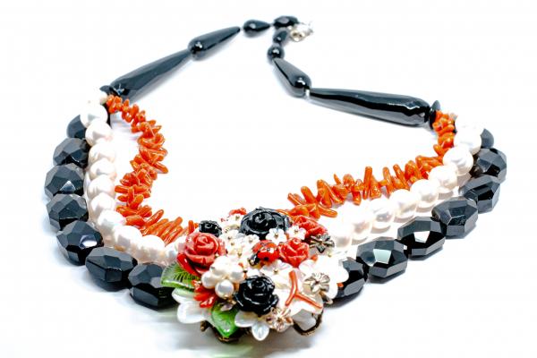 Colier Creatie din Onix , Coral si Perla cu Argint [2]
