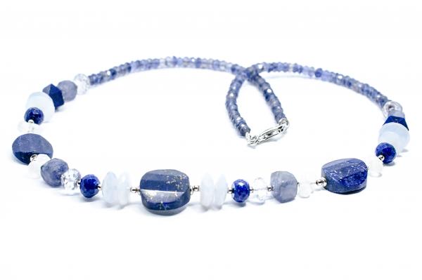 Colier Creatie Lapis lazuli,Iolit,Piatra Lunii,Calcedonie si Argint [0]