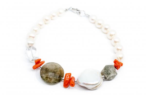 Bratară Creaţie Perlă, Coral,Pirită, Cuart 1