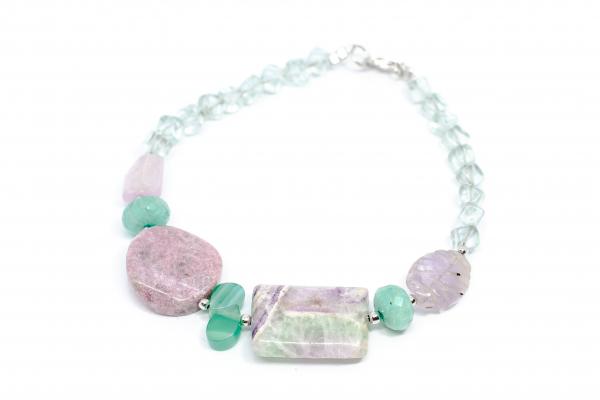 Bratara cu Coral,Kunzit,Ametist Verde,Agat Verde,Smarald si Argint 0