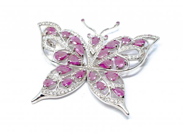 Brosa din Argint Fluture cu Rubin si Zirconiu [0]