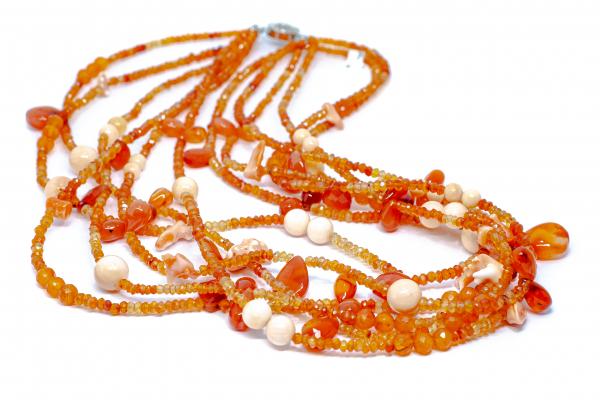 Colier Creatie cu Carneol,Coral si Argint 0
