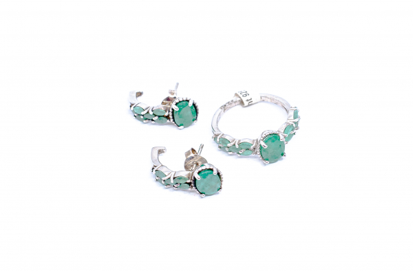 Set Cercei si Inel din Argint cu Smarald 0
