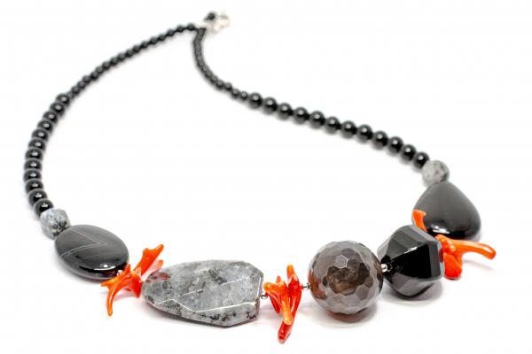 Colier Creaţie din Argint cu Onix, Coral şi Cuarţ 0
