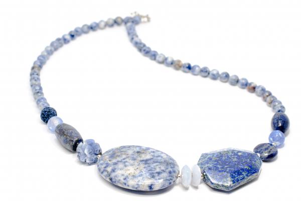 Colier Creatie cu Lapislazuli , Coral, Sodalit si Argint 0