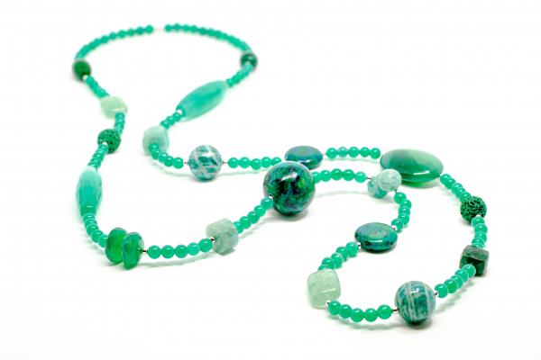 Colier Creatie din Malahit si Agat Verde cu Argint 1