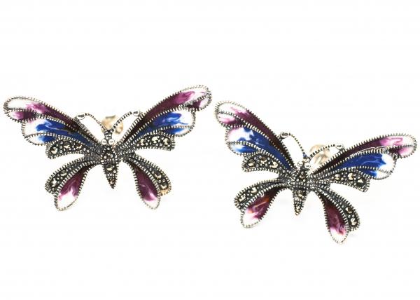 Cercei din Argint Fluture cu Email [0]